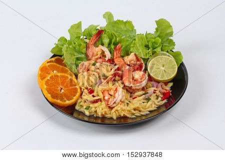 Spicy sour minced green mango salad with shrimp.