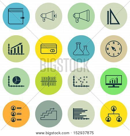 Set Of 16 Universal Editable Icons For Marketing, Statistics And Management Topics. Includes Icons S