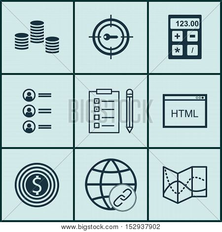 Set Of 9 Universal Editable Icons For Project Management, Marketing And Transportation Topics. Inclu