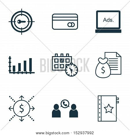 Set Of 9 Universal Editable Icons For Statistics, Human Resources And Transportation Topics. Include