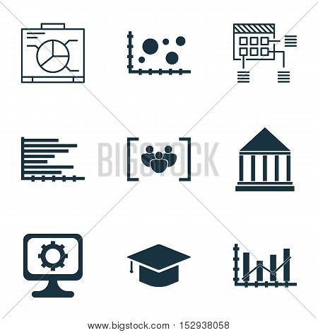 Set Of 9 Universal Editable Icons For Education, Statistics And Project Management Topics. Includes