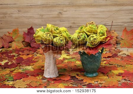Bouquet / Homemade rose from multicolored autumn leaves