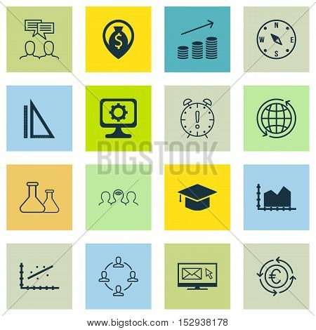 Set Of 16 Universal Editable Icons For Transportation, Project Management And School Topics. Include