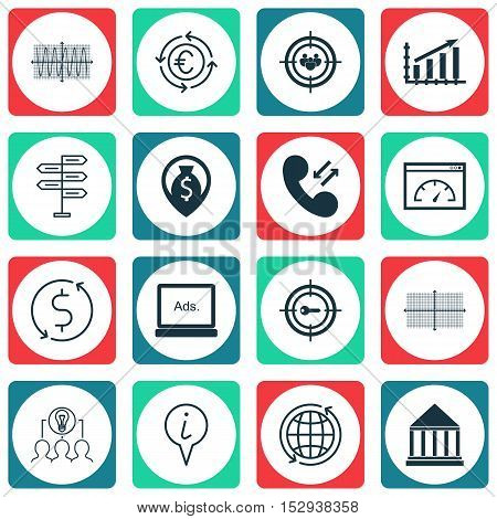 Set Of 16 Universal Editable Icons For Project Management, Travel And Statistics Topics. Includes Ic