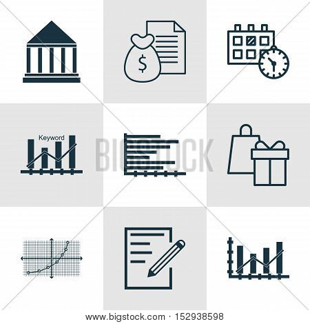 Set Of 9 Universal Editable Icons For School, Transportation And Statistics Topics. Includes Icons S