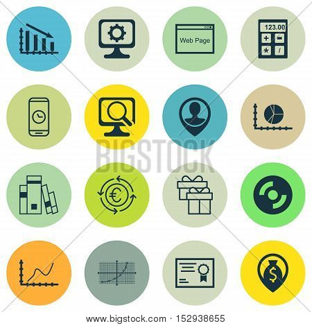 Set Of 16 Universal Editable Icons For Advertising, Hr And Travel Topics. Includes Icons Such As Fin