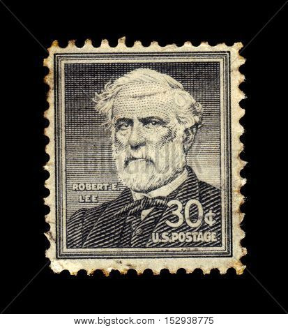 USA - CIRCA 1955: a stamp printed in the United States of America shows Robert Edward Lee, american general, commanding the Confederate Army of Northern Virginia in the American Civil War, circa 1955