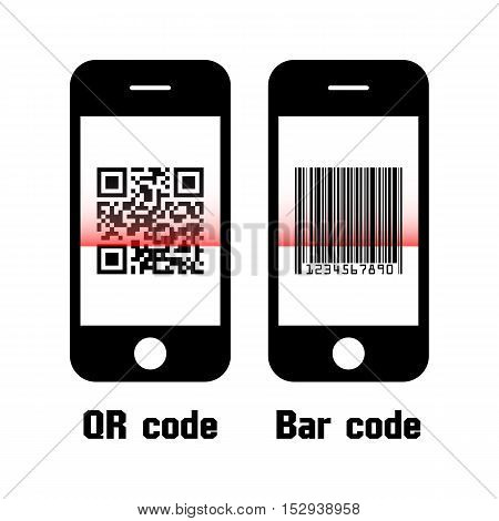 Smartphone scan QR code and bar code . flat design
