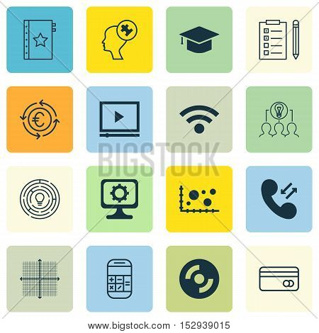 Set Of 16 Universal Editable Icons For Computer Hardware, Business Management And Advertising Topics