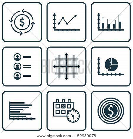 Set Of 9 Universal Editable Icons For Statistics, Hr And Traveling Topics. Includes Icons Such As Bu