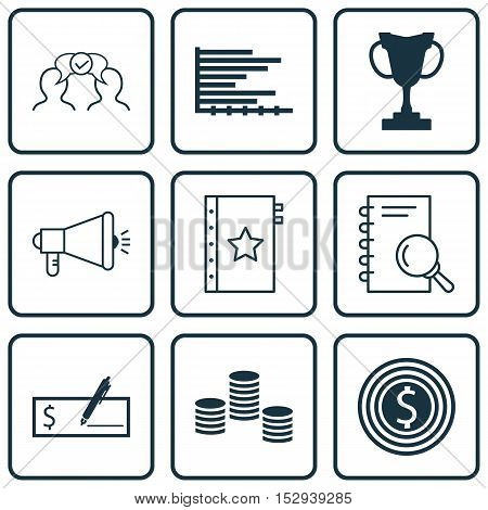 Set Of 9 Universal Editable Icons For Business Management, Management And Human Resources Topics. In