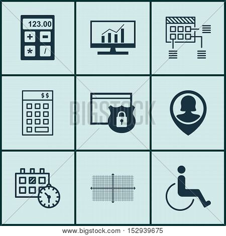 Set Of 9 Universal Editable Icons For Project Management, Traveling And Marketing Topics. Includes I