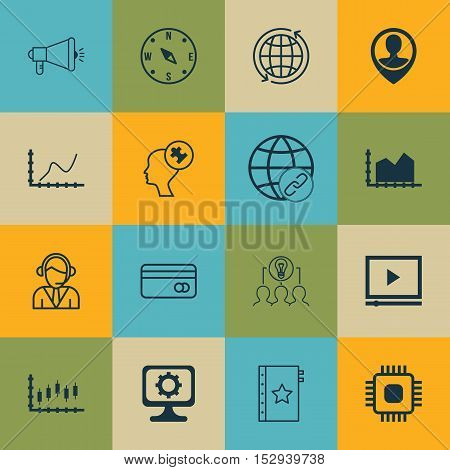 Set Of 16 Universal Editable Icons For Hr, Business Management And Computer Hardware Topics. Include