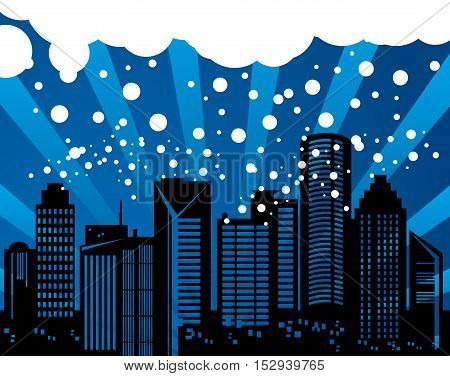 Abstract winter snow urban background, vector illustration