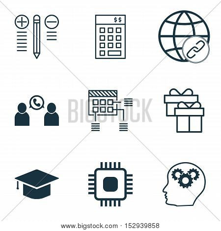 Set Of 9 Universal Editable Icons For School, Project Management And Airport Topics. Includes Icons