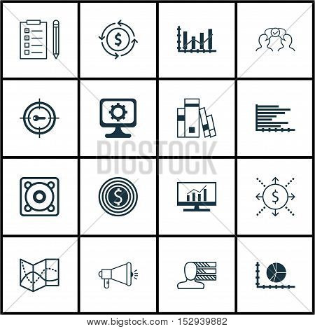Set Of 16 Universal Editable Icons For Advertising, Statistics And Computer Hardware Topics. Include