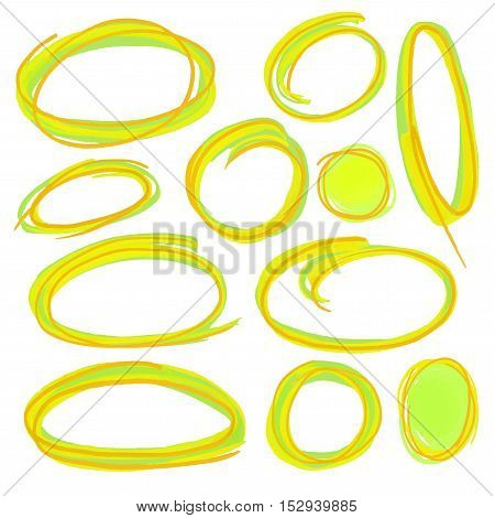 Colorful highlight round stripes, circle banners drawn with school markers. Stylish highlight elements for design. Vector highlight marker spots bright color.