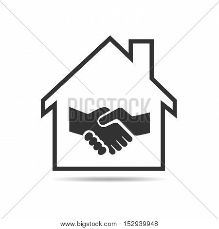 Icon silhouette of house with handshake inside. The concept of buying and selling real estate. Vector illustration.