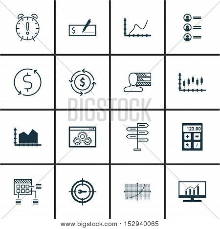 Set Of 16 Universal Editable Icons For Project Management, Advertising And Human Resources Topics. I