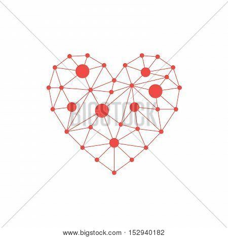 Red heart icon. Simple triangular sign of the heart isolated on white background. Symbol of the heart. Symbol of the love. Vector illustration.