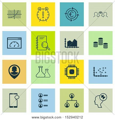 Set Of 16 Universal Editable Icons For Statistics, Advertising And Business Management Topics. Inclu