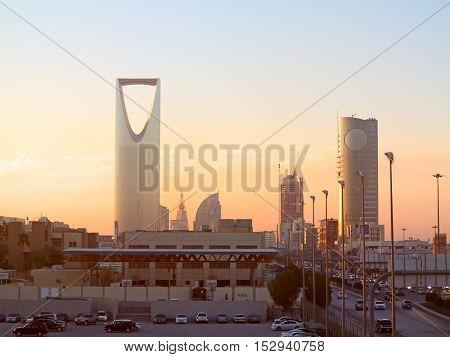 RIYADH - MARCH 01: Sunset over Riyadh downtown on March 01, 2016 in Riyadh, Saudi Arabia.