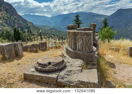 Panorama of Ancient Greek archaeological site of Delphi,Central Greece