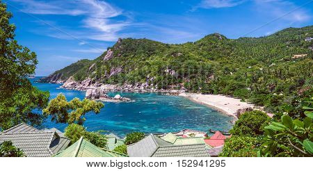 Beautiful Koh Tao islands in Thailand. snorkeling paradise with clear sea water and stones beach