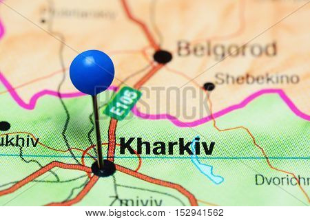 Kharkiv pinned on a map of Ukraine