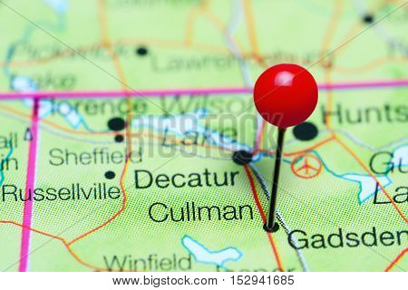 Cullman pinned on a map of Alabama, USA