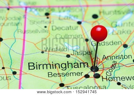 Birmingham pinned on a map of Alabama, USA
