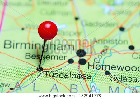 Tuscaloosa pinned on a map of Alabama, USA