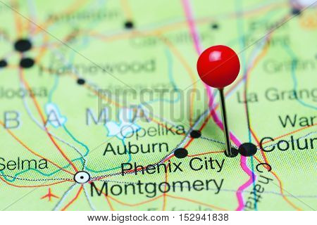 Phoenix City pinned on a map of Alabama, USA