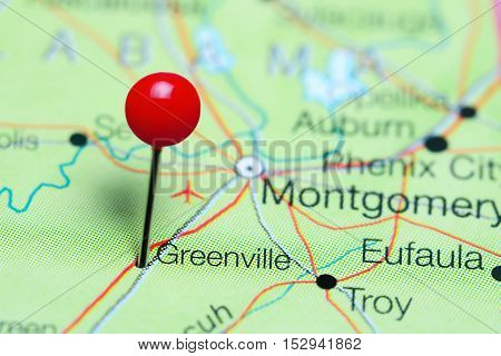 Greenville pinned on a map of Alabama, USA