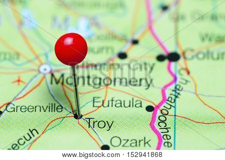 Troy pinned on a map of Alabama, USA