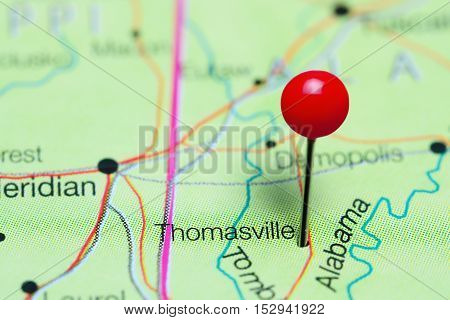 Thomasville pinned on a map of Alabama, USA