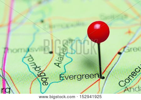 Evergreen pinned on a map of Alabama, USA