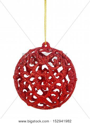 Christmas ball at golden ribbon isolated on white background