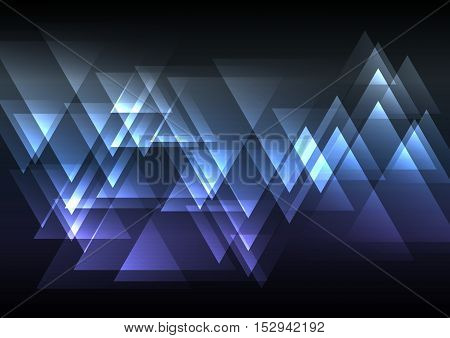 blue and violet abstract triangle overlap background