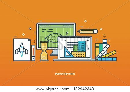 Concept of illustration - learning design, tools for the implementation of work, education and technology. Vector illustration for website, banner, printed materials and mobile app.