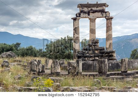 Colums in Athena Pronaia Sanctuary at Ancient Greek archaeological site of Delphi, Central Greece