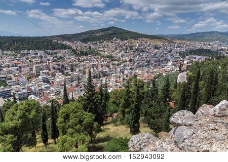 Panoramic view of Lamia City, Central Greece