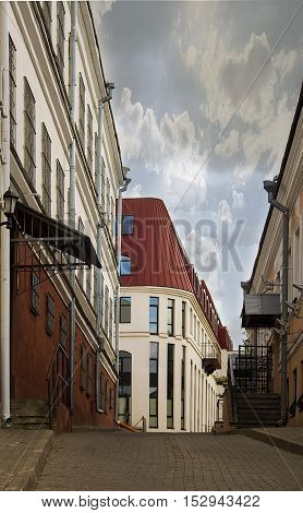 narrow street in the old gorode.Minsk, Belarus, Trinity Suburb