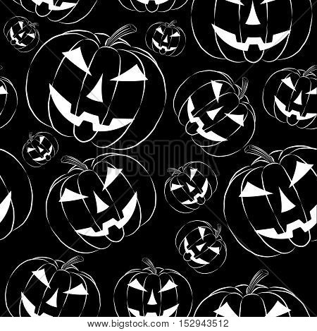 Pumpkin lantern in outline style seamless wallpaper on black background. Halloween symbol vector illustration