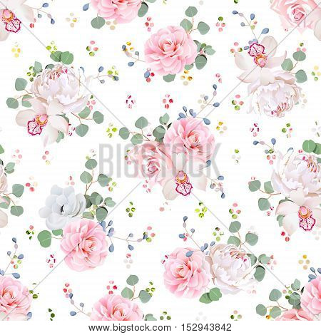 Romantic bouquets of rose peony camellia orchid anemone camellia blue berries and eucaliptis leaves. Seamless vector print with rainbow confetti.