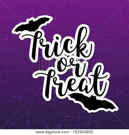 Trick or treat halloween greeting card with bats. Vector sticker.
