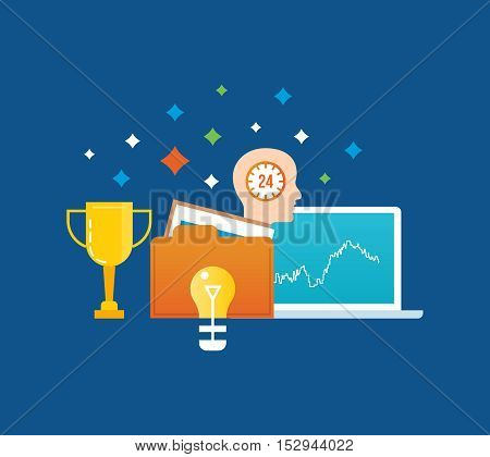 Concept of illustration - creativity and creative thinking, ideas, commitment, success and leadership. Vector illustration for website, banner, printed materials and mobile app.