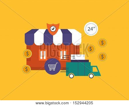 Concept of illustration - shop and protection in the online store, delivery and implementation of the process of purchase. Vector illustration for website, banner, printed materials and mobile app.