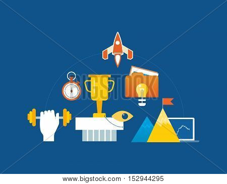 Concept of illustration - leadership, start-up, success and motivation, conquering peaks. Vector illustration for website, banner, printed materials and mobile app.