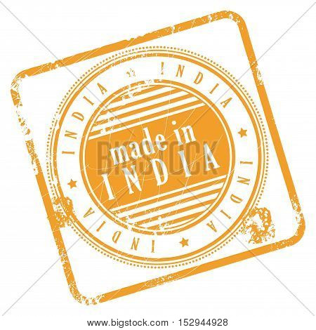 Grunge rubber stamp made in India, vector illustration